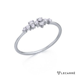 Anillo Cascada Oro Blanco y Diamantes