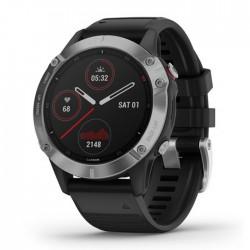Reloj Garmin Fénix 6 Plata con Correa Negra