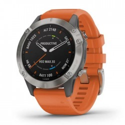Reloj Garmin Fénix 6 Zafiro Titanio con Correa Naranja