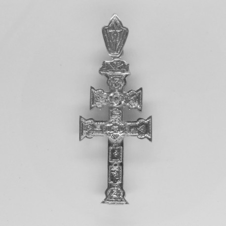 Cruz Caravaca Oro Blanco Relieve 1494OB