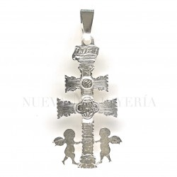 Cruz Caravaca Plata Relieve Angeles 4233PL