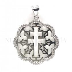 Medalla Cruz Caravaca Plata y Piedras 1276PL