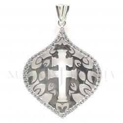 Medalla Cruz Caravaca Plata y Piedras 973PL