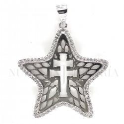 Medalla Cruz Caravaca Plata y Piedras 1001PL
