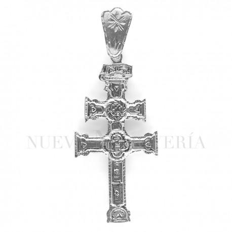 Cruz Caravaca Oro Blanco Relieve 1525OB