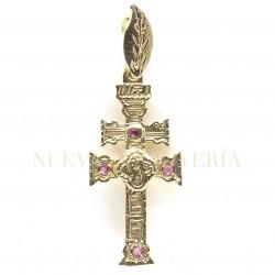 Cruz Caravaca Oro Relieve Piedras 3157K18