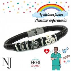 Pulsera Profesion Auxiliar Enfermeria Caballero Plata