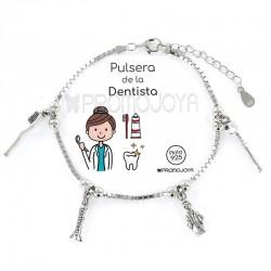 Pulsera Profesión Dentista Señora Plata