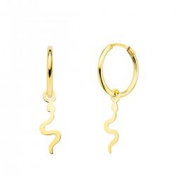 Pendiente Aro Oro con Serpiente